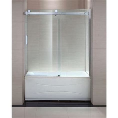 bathtub sliding shower doors schon judy 60 in x 59 in semi framed sliding trackless tub and shower door in chrome