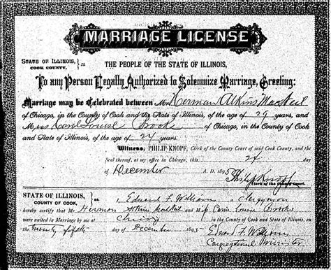 Chicago Marriage License Records The Macneil S Chicago Wedding Day 1895 Hermon A Macneil