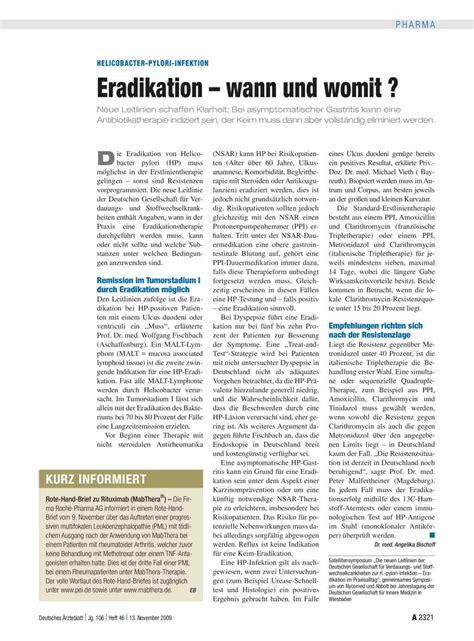 Helicobacter Pylori Infektion Eradikation Wann Und