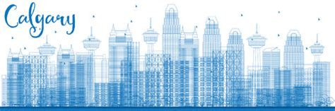 Calgary Outline by Calgary Tower Illustration Stock Illustration Image 72199714