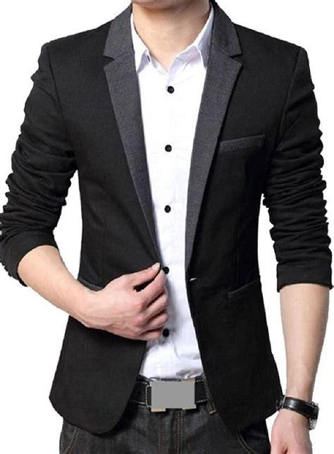 Blazer Pria Modern Blazer Casual Blazer Silver Blazer Murah Korean menjestic s slim fit blazer with grey lapel deal on screen