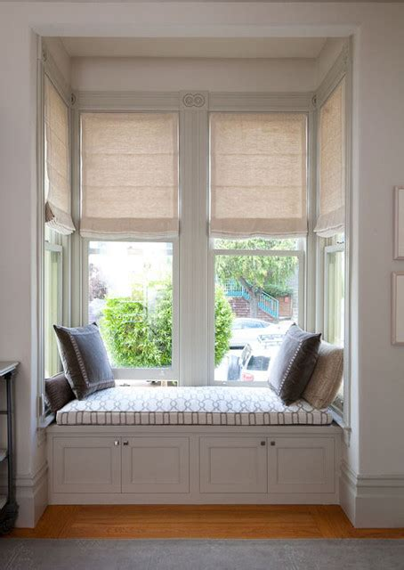 Ikea Photo Ledge Motorized Roman Shades In A Bay Window And Built In Window
