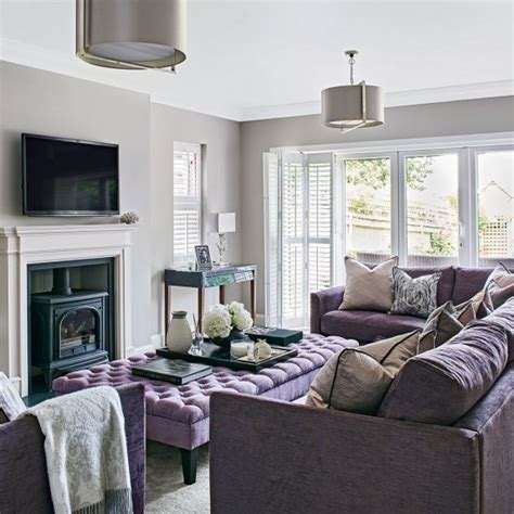 light grey sofa living room light grey living room with lilac sofa housetohome co uk
