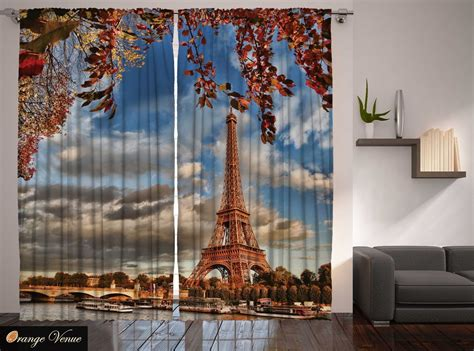 paris bedroom curtains paris eiffel tower fall leaves river bridge bedroom living