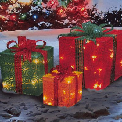 outdoor lighted christmas packages 3 piece lighted