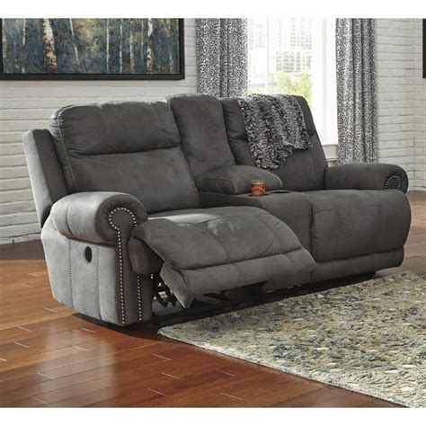 austere power reclining sofa ashley austere reclining faux leather console power