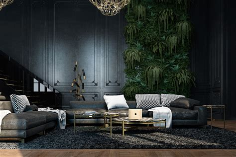 dark interior 3 living spaces with dark and decadent black interiors