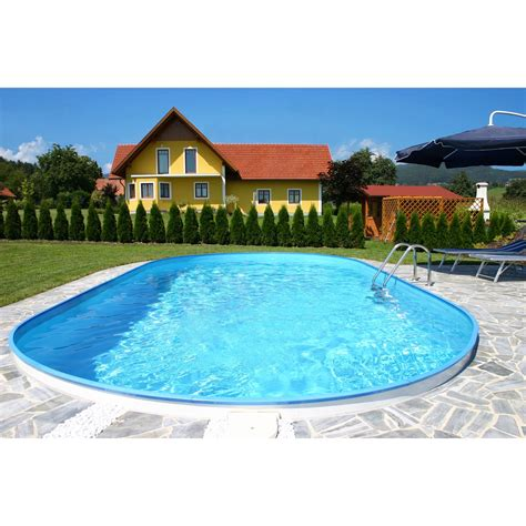 pool mit überdachung stahlwand pool set ferrara einbaubecken ovalform 525 cm x