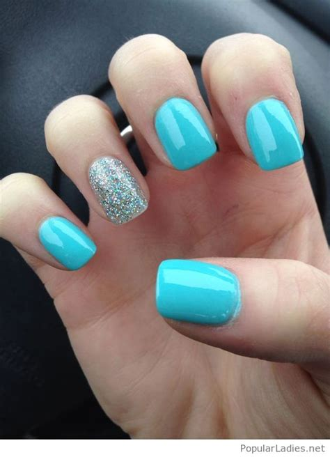 simple gel nails blue  silver glitter