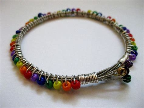Handmade Recycled Jewelry - rainbow beaded guitar string bracelet handmade recycled
