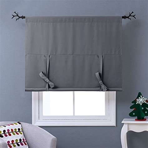 tie up blackout curtains nicetown thermal insulated grey blackout curtain tie up