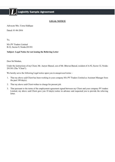 Agreement Relieving Letter create notice for not issuing relieving letter