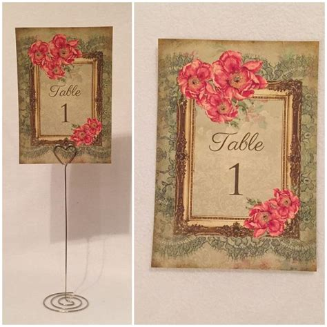 details about vintage style wedding table numbers names cards shabby chic flower frame