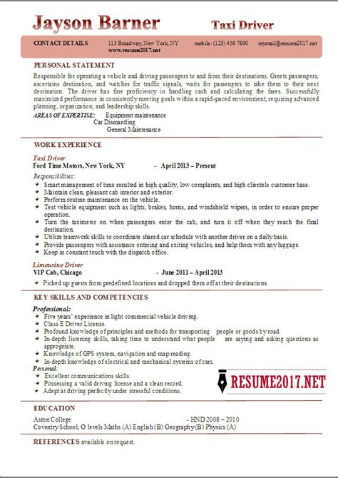 Resume Exles 2017 Taxi Driver Resume Exles 2017