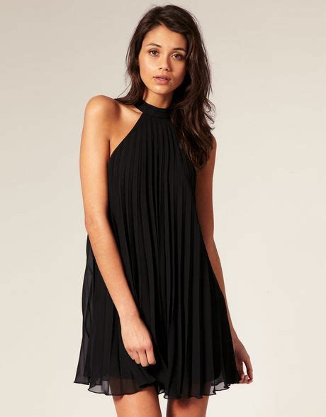 pleated swing dress asos collection asos pleated swing dress with halter neck