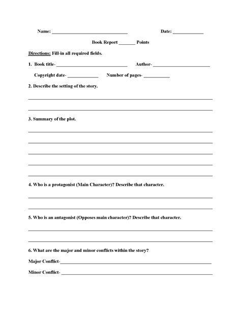 book report worksheets high school book report worksheets
