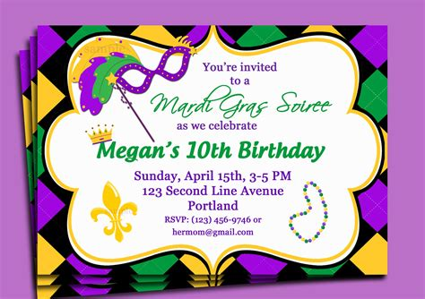 mardi gras party invitations template best template