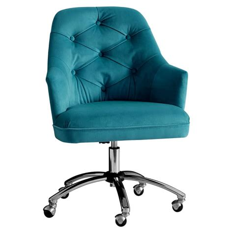 peacock velvet tufted desk chair everything turquoise