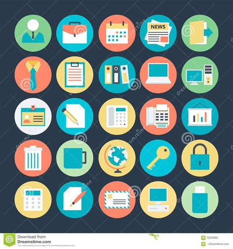 office colored vector icons 1 stock illustration image