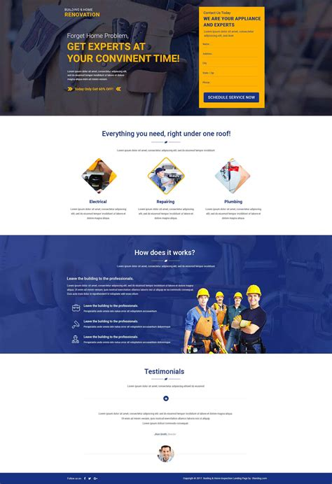 Building Home Landing Page Template With Free Builder Olanding Html Template Builder