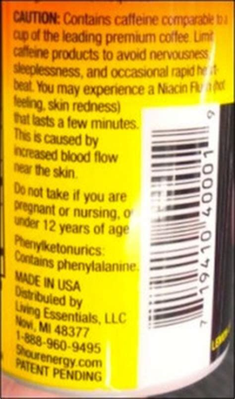 energy drink warning label did 5 hour energy kill 13