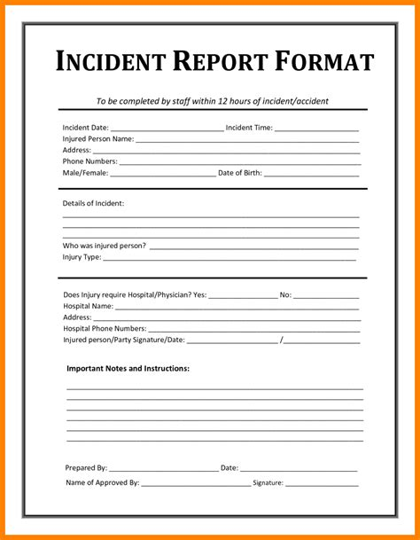 Business Letter Incident Report 8 Employee Incident Report Sle Day Care Receipts