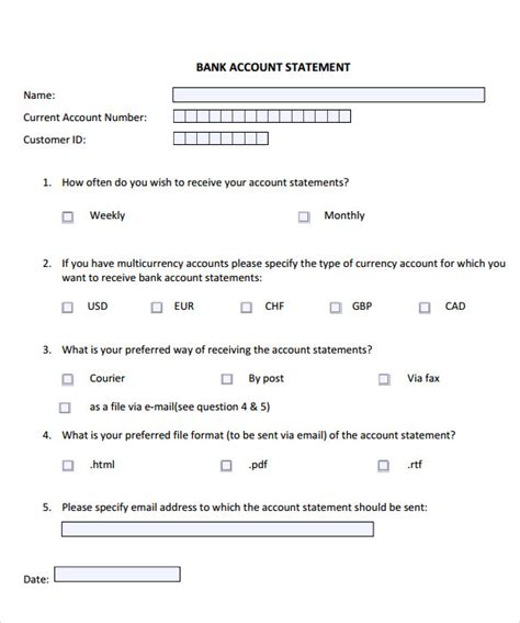 11 Statement Of Account Sles Sle Templates Bank Account Statement Template
