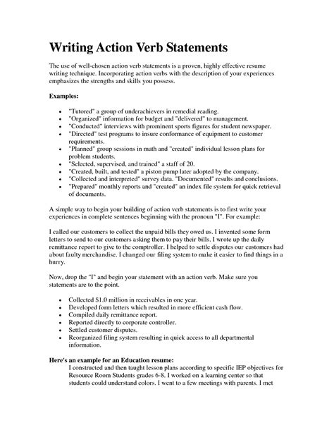 verbs for resume writing resume verbs for teachers resume ideas