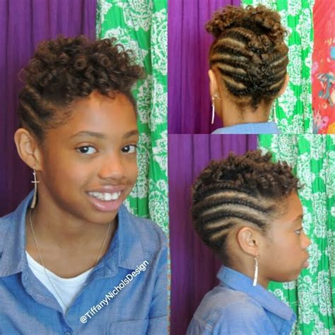 roller set  flat twist updo  natural hair kid