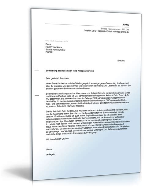 Bewerbung Anschreiben Mit Anlagen Anschreiben Bewerbung Maschinen Und Anlagenf 252 Hrer In