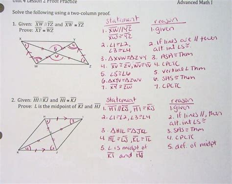 congruent triangles worksheet with answer weirshonorsadvancedmath1 congruent triangle proofs hw answers