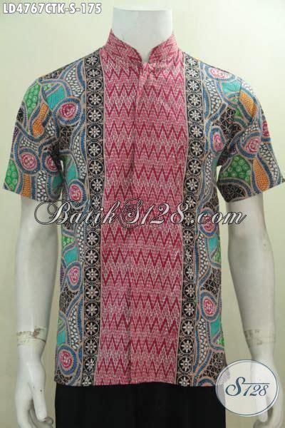 Baju Koko Tenun Lengan Pendek Bordir Kombinasi Al Aziz kemeja lengan pendek batik cap tulis kerah shnaghai busana batik pria muda ukuran kecil baju