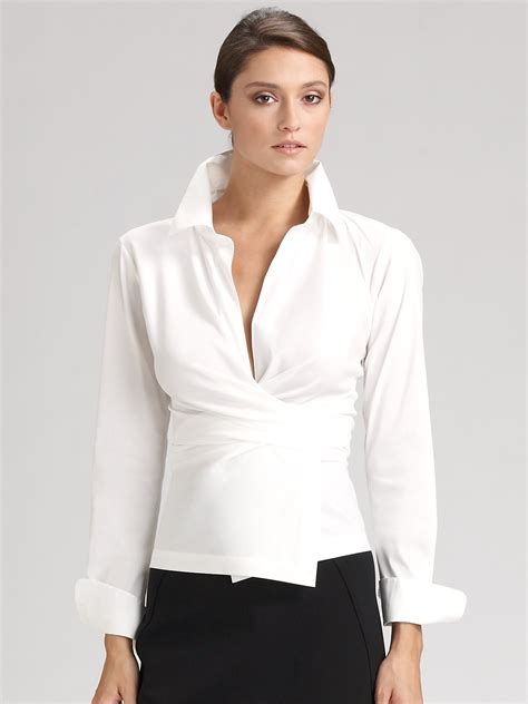 Donna Blouse lyst donna karan stretch cotton wrap shirt in white