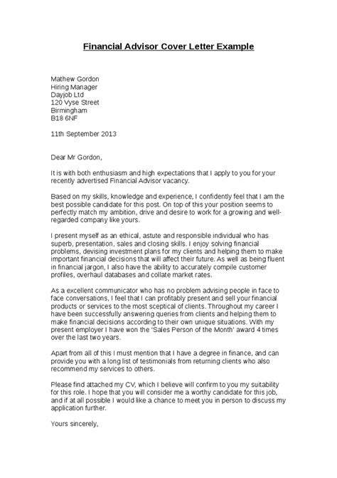 Financial Letter financial advisor cover letter exle financial advisor