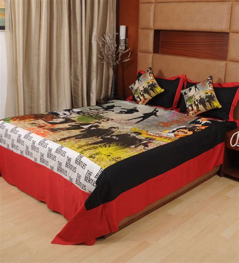 beatles bedding rasberrie beatles theme digital printed double bedsheet