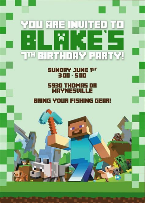 minecraft party invitations template www imgkid com