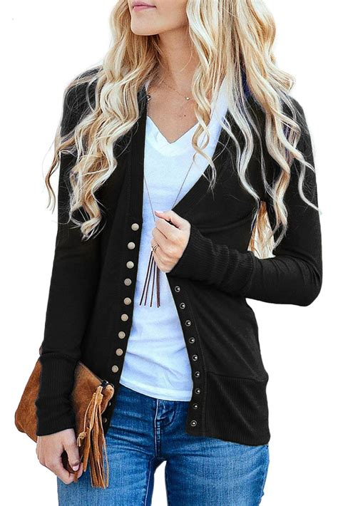 3 4 Sleeve Cardigan black 3 4 sleeve snap cardigan zekela