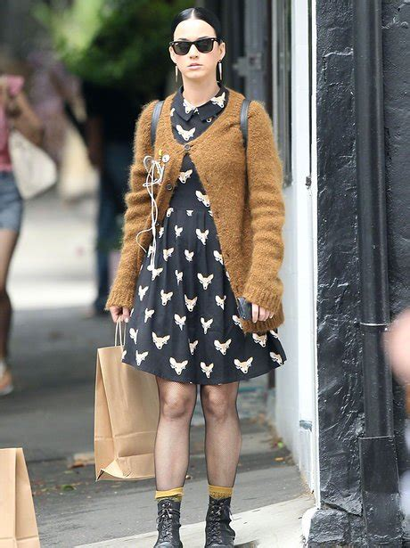 what of does katy perry katy perry does chic in an oversized jumper and monochrome shirt dress this