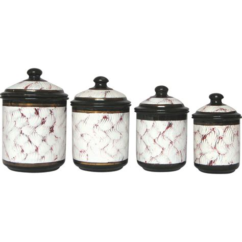 black and white kitchen canisters rare black enamel red and white feather pattern canisters