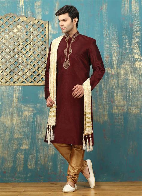 Piyama Satin Maroon buy maroon dupion silk kurta pyjama embroidered