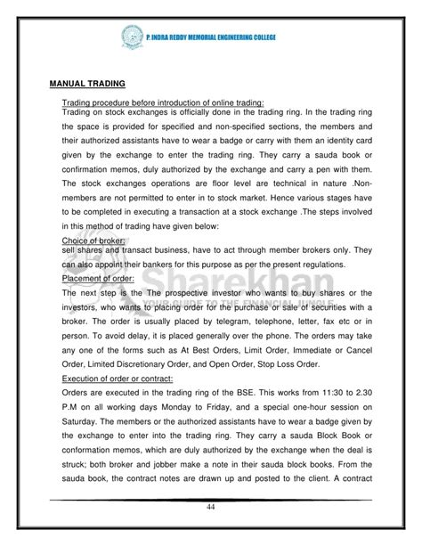 Mba Project Report In Finance Stock Market by Forex Market Mba Project