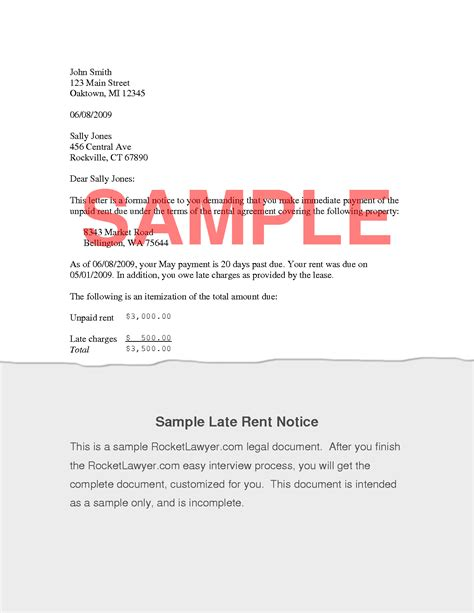 Sle Letter Landlord Late Rent Payment 7 best images of late payment notice form letter from
