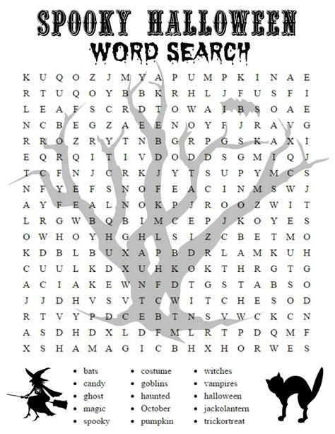 printable daily word search games halloween crossword puzzles printable spooky halloween