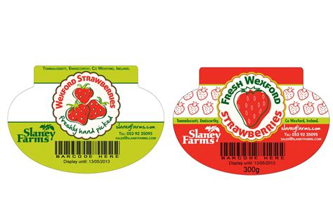 design label packaging slaney farms strawberry packaging label two heads