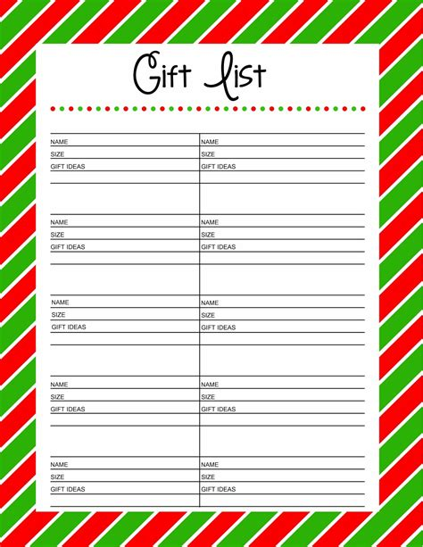 gift list free printable gift list 25 days to an organized
