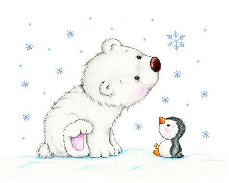 Flat Teplek Polos Black Panda polar and penguin drawing by tatiana ciumac