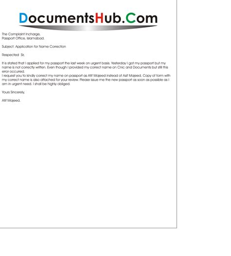 certification letter for correction of name sle application for name change documentshub