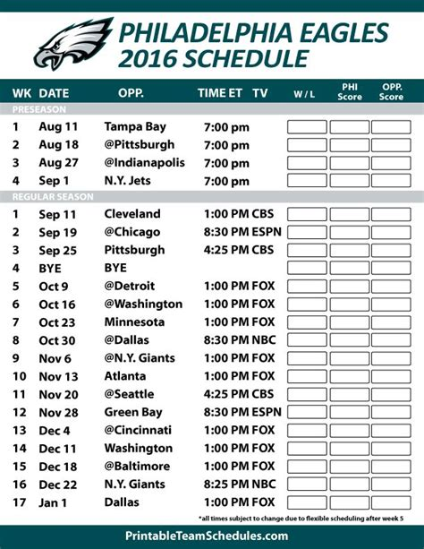printable nfl league schedule 208 best fly eagles fly images on pinterest