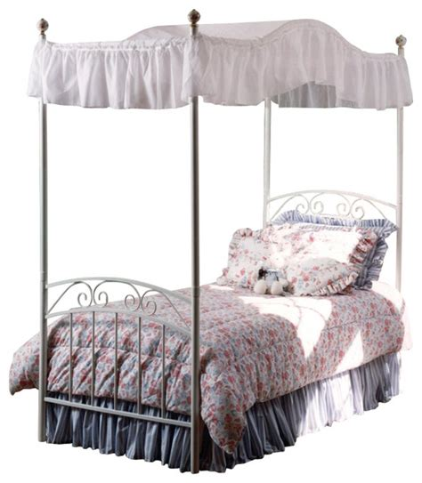 white twin canopy bed hillsdale emily princess metal canopy bed in white finish