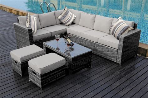 new conservatory 8 seater rattan corner sofa set garden